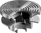 "Mifab Series F1340 Floor Drain With 12"" Round Adjustable Tractor Grate"