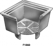 "Mifab Series F1860 12"" Square Open Hopper Drain With Loose Set Bottom Grate"