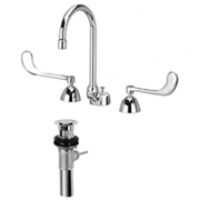 Zurn Z831B6-XL-P Widespread  5-3/8in Gooseneck, 6in Wrist Blade Hles  Pop-Up Drain Lead-free.