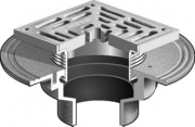 MIFAB F1100-XS Square Floor Drain H-D Strainer For Non-Membrane Floor Areas