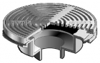 "Mifab Series F1340-Y-Q Floor Drain W 12"" Round Non Adj Tractor Grate & Shallow Body"