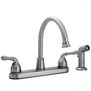 Two Handle Kitchen Faucet With Side Spray -Chrome