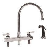 CHG K41-8201  8'' Deck Mount Faucet W/48''Black Side Sprayer